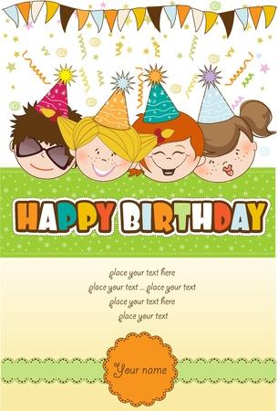 kids celebrating birthday party Stock Vector - 10578054