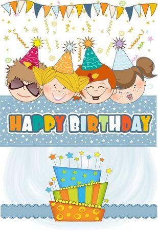 happy birthday girl: kids celebrating birthday party  Illustration