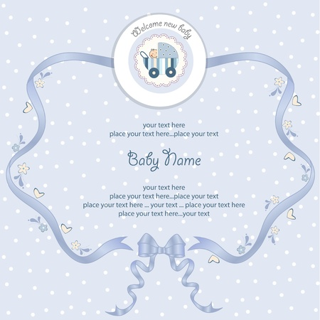 baby announcement card:  new baby announcement card with pram Illustration