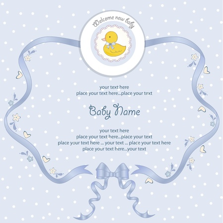 baby duck: new baby boy shower card Illustration