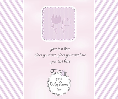 baby girl shower card Vector