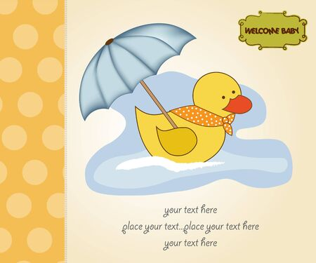 baby shower announcement card with duck Vector