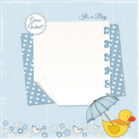baby announcement card: new baby boy shower card Illustration