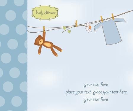 chico nuevo de bienvenida al bebé de tarjetas Ilustración de vector