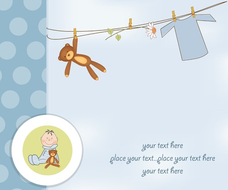 new baby boy shower card Illustration