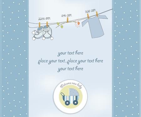 batismo:  new baby boy shower card Ilustração
