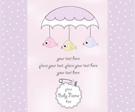 baptism background: new baby girl shower card Illustration
