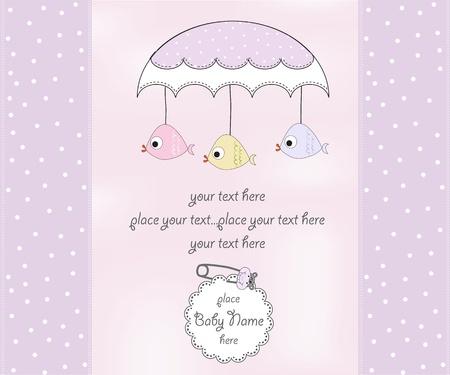 batismo: new baby girl shower card Ilustração