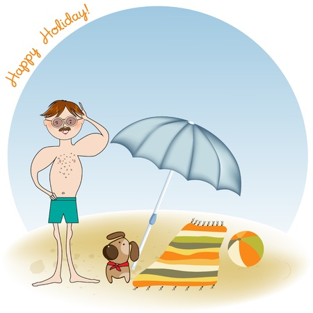 muscle man on the beach Stock Vector - 12393093