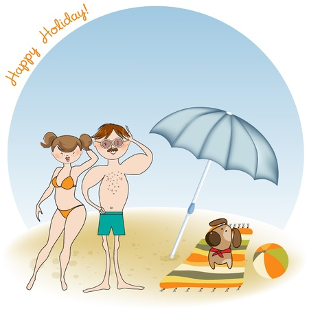 happy couple beach: happy couple on the beach Illustration