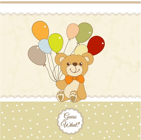 welcome baby card with teddy bear Stock Vector - 11154227
