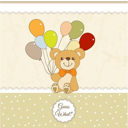 cute girl with teddy bear:  welcome baby card with teddy bear Illustration