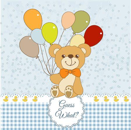 balloons teddy bear:  welcome baby card with teddy bear Illustration