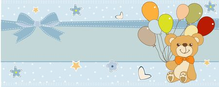 welcome baby card with teddy bear Illustration