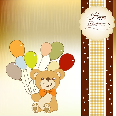 teddy bear: Tarjeta de bienvenida beb� con el oso de peluche Vectores