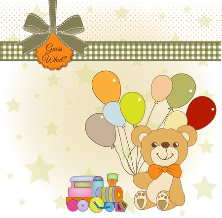 special moments:  welcome baby card with teddy bear Illustration