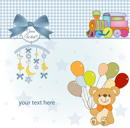 welcome baby card with teddy bear Vector