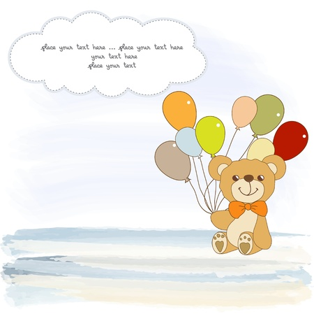 moments:  welcome baby card with teddy bear Illustration
