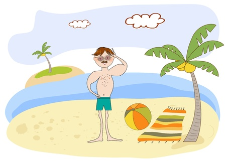 muscle man on the beach Stock Vector - 12393105