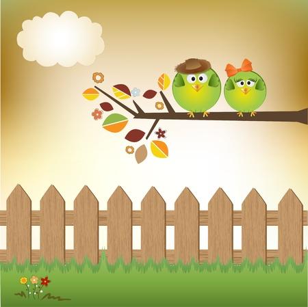 Pareja de aves en el amor