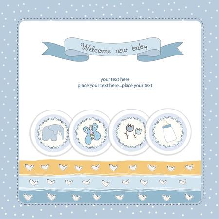 battesimo: New Baby scheda annuncio Vettoriali
