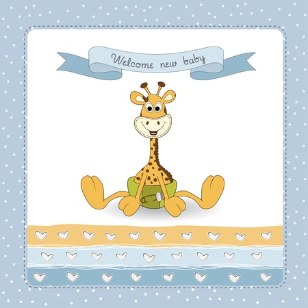 giraffe frame: New baby announcement card