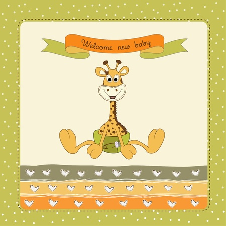 giraffe frame: new baby arrived Illustration