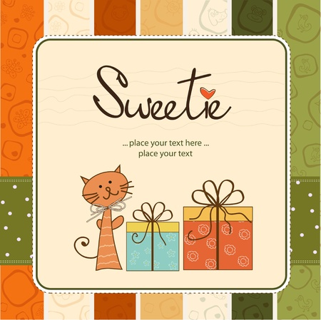 happy birthday girl: sweetie greeting card Illustration