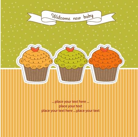 Happy Birthday cupcakes Illustration