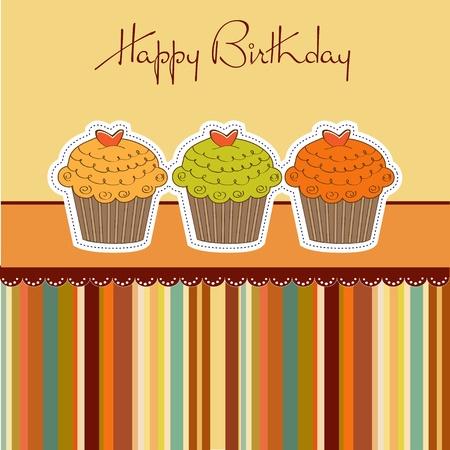 decorated cake: Happy Birthday cupcakes Illustration