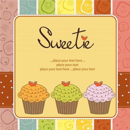 honey cake: Happy Birthday cupcakes Illustration