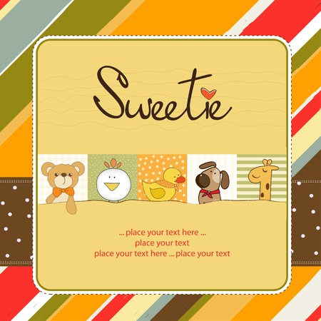 baby animal cartoon: sweetie greeting card Illustration