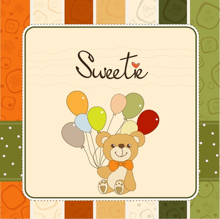 baby invitation with teddy bear and balloons Vector
