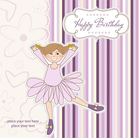 Sweet Girl Birthday Greeting Card Stock Vector - 11022128