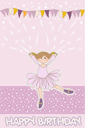 Sweet Girl Birthday Greeting Card Stock Vector - 11022215