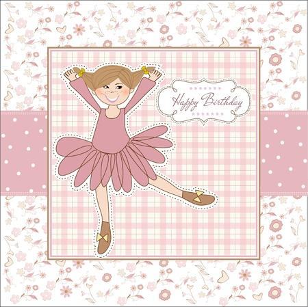 Sweet Girl Birthday Greeting Card Vector