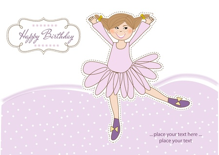 Sweet Girl Birthday Greeting Card Stock Vector - 11022029