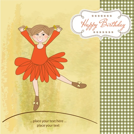 Sweet Girl Birthday Greeting Card Stock Vector - 11022635