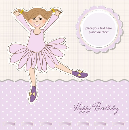 Sweet Girl Birthday Greeting Card Stock Vector - 11022598