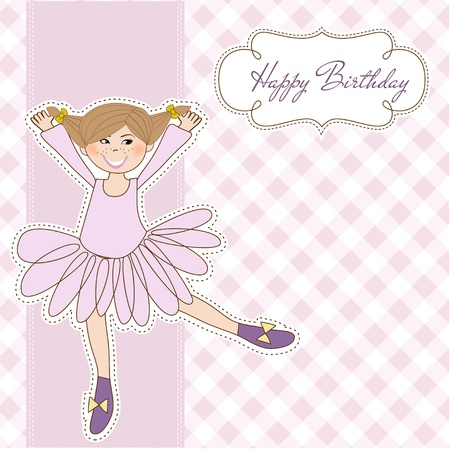 Sweet Girl Birthday Greeting Card Vector