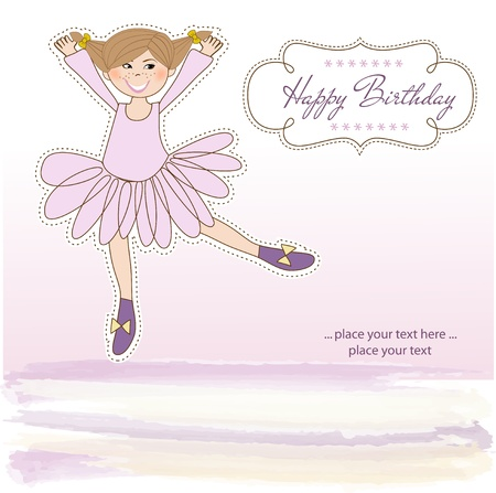 cartoon ballerina: Sweet Girl Birthday Greeting Card