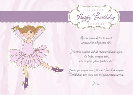 Sweet Girl Birthday Greeting Card Stock Vector - 11022156