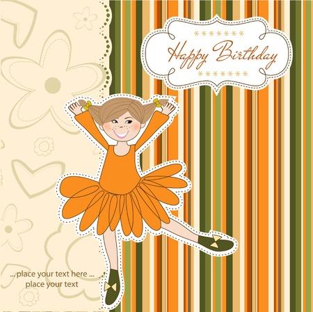 Sweet Girl Birthday Greeting Card Stock Vector - 11022138
