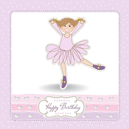 Sweet Girl Birthday Greeting Card Stock Vector - 11021807