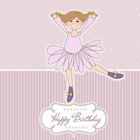 Sweet Girl Birthday Greeting Card Stock Vector - 11021139