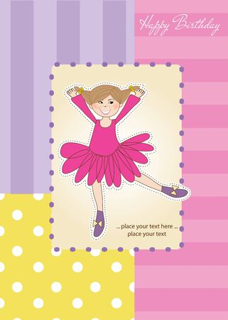 Sweet Girl Birthday Greeting Card Stock Vector - 11021907