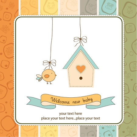 New baby announcement card with chicken  Illustration