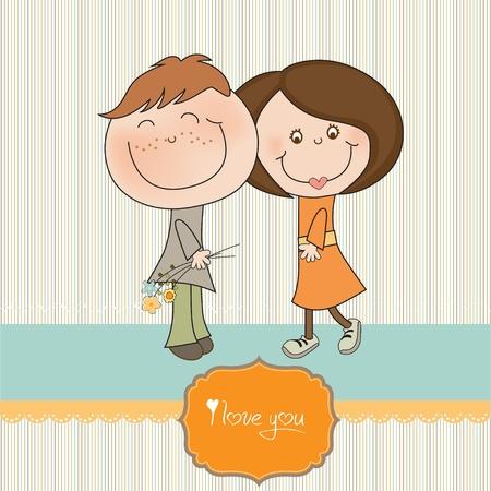 caricaturas de personas: Feliz pareja de amantes
