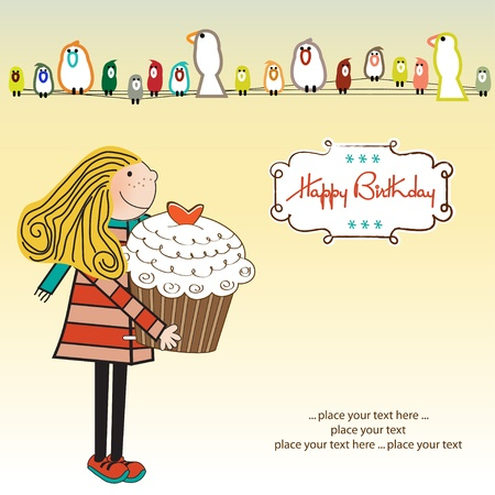 honey cake: Happy Birthday card with girl and cupcake