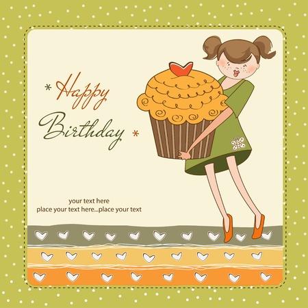 honey cake: Happy Birthday card with girl and cupcake